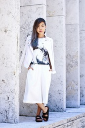feral creature,blogger,jacket,top,shoes,jewels,culottes