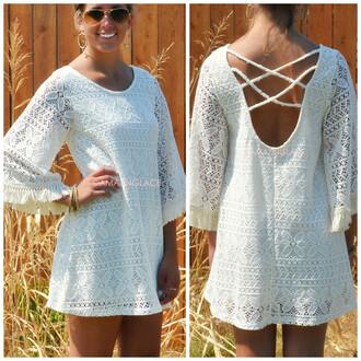 ivory crochet shift dress romantic boho boho chic criss cross back