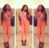 jeans,peach