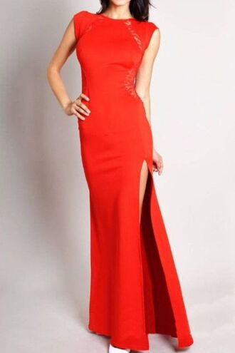 dress red maxi dress red lace cut out back dress split side maxi sleevless chic gown evening gown www.ustrendy.com