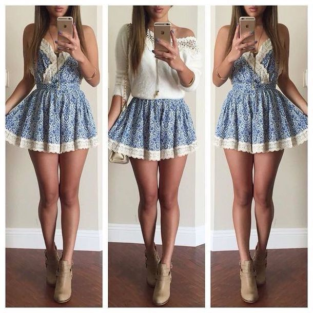 70fd074d1 crochet knit short skater skater skirt denim lace up long print aztec  necklace jewels top t