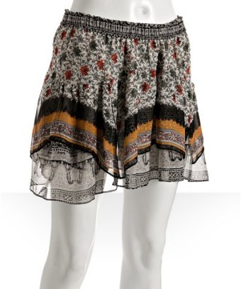 Of Two Minds floral print silk chiffon layered hem skirt at Bluefly