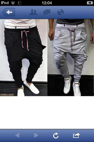 pants clothes funny joggers sportswear grey black low crotch menswear guys jumpsuit jeans pantalons gris noir swag mec mens pants vêtement sweatpants greyy baggy baggy pants justin bieber pants dope grey sweatpants any color bag