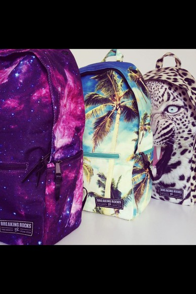 bag leopard print breaking rocks galaxy palm tree print