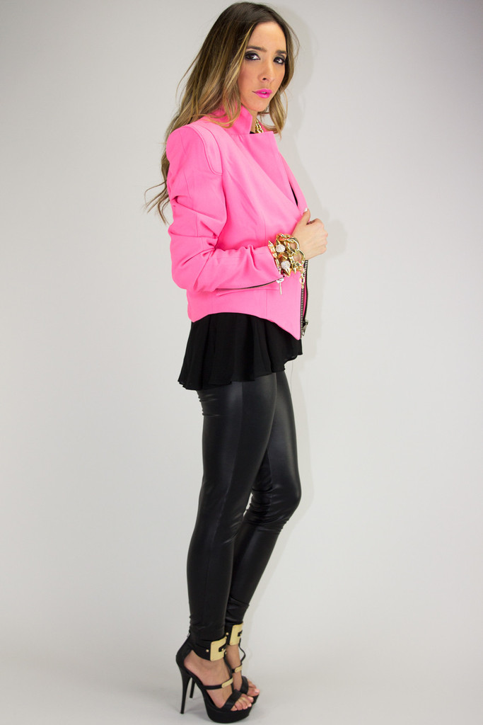 JANE NEON ZIP BLAZER - Pink | Haute & Rebellious