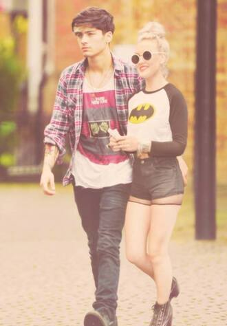 t-shirt perrie edwards shorts sunglasses batman