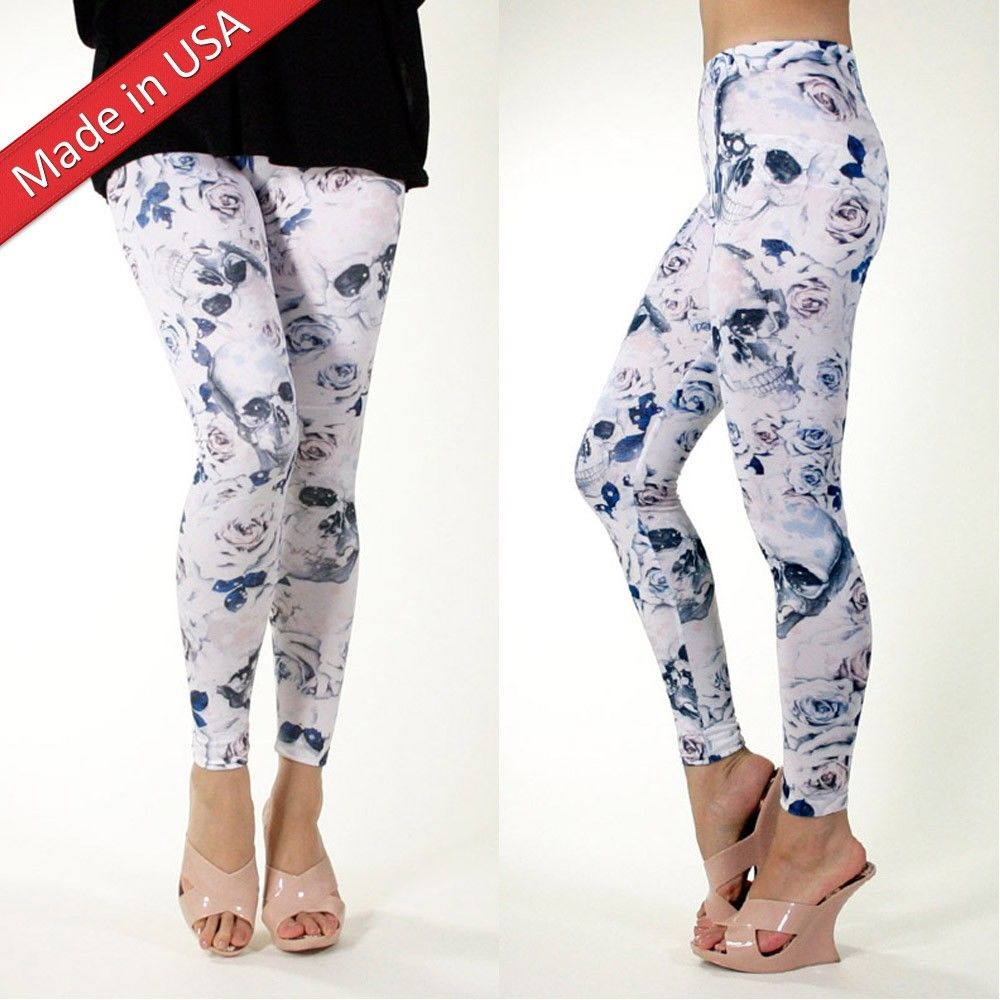 New Rose Skull Floral White Flower Goth Emo Leggings Tights Pants Made in USA