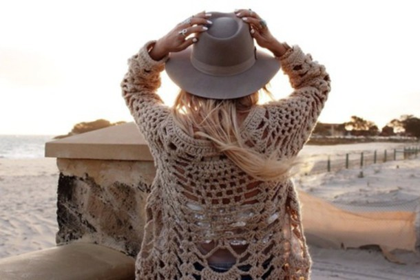 coat boho boho chic hippie grunge summer style colorful white dress hat grey sweater