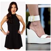 black,dress,shoes,wedges,white,fashion,ootd