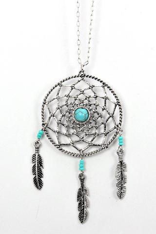 Long antique dreamcatcher silver leaf necklace
