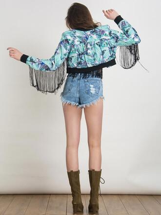 jacket chiclook closet style fringes floral black trendy