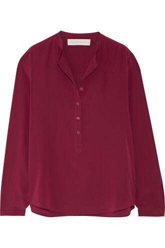 blouse silk burgundy top