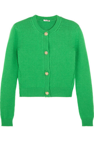 cardigan cropped embellished green sweater