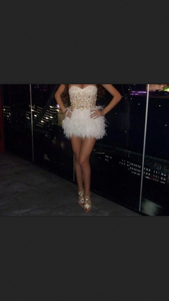 dress feathers glitter dress fitted dress boobtube sparkly dress rhinestones skirt