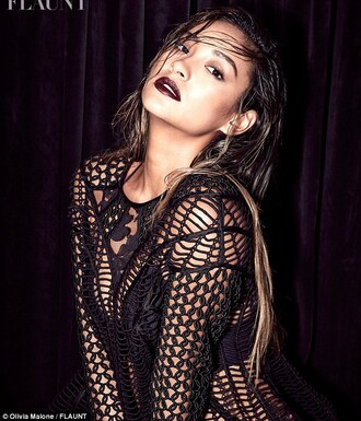 top lace black sexy shay mitchell dark lipstick burgundy lipstick crochet crochet top black top