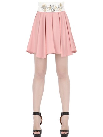 skirt pleated embellished white pink