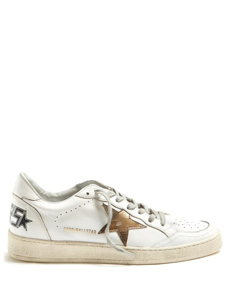 GOLDEN GOOSE DELUXE BRAND top ball leather gold white