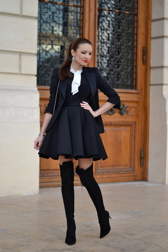 my silk fairytale blogger circle skirt black skirt high waisted skirt thigh high boots black jacket jacket shirt skirt shoes bag