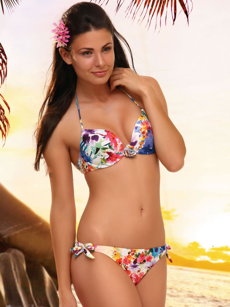 Floral push up underwire two piece swimsuit