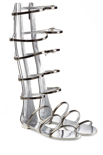 metallic sandals leather grey shoes