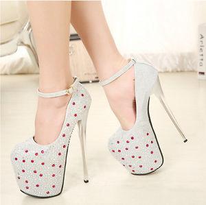 Glitter Glamor Stiletto 19cm Heel Diamantestrappy Rhinestone Platform Pump Heel | eBay