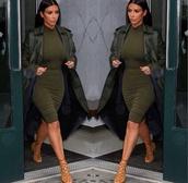 coat,kim kardashian,trench coat,dress