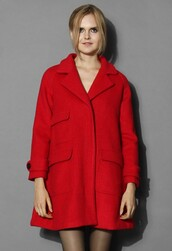 chicwish,pockets wool coat,oversized red coat,fashion and chic