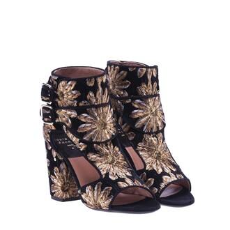 sandals gold black shoes