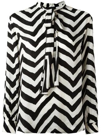 blouse bow women black chevron top