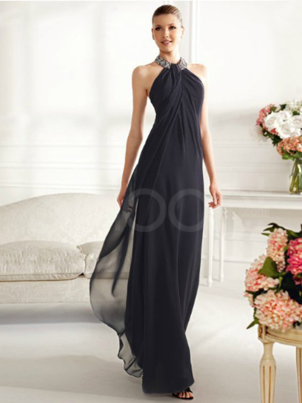 dress dark navy chiffon prom dress floor length and embelished with rhinestones