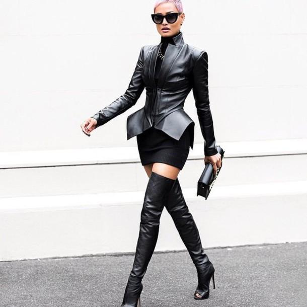 jacket high heels boots heels leather jacket