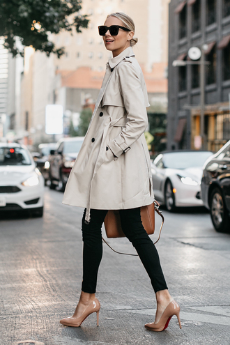 coat tumblr trench coat denim jeans black jeans skinny jeans pumps high heel pumps pointed toe pumps