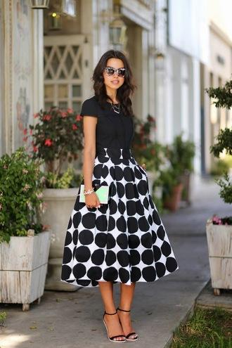 viva luxury skirt jewels top shoes sunglasses bag nail polish black and white midi skirt black top cat eye