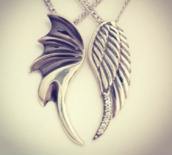 jewels,necklace,wing,wings,dark,angel,angel wings,dark angel,devil,devil wings,couple,best,bff,best friend necklace,silver,grey,best friends necklaces,lovely,sad