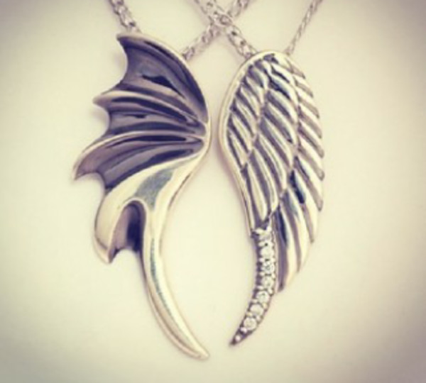 jewels necklace necklace wing wings dark angel angel wings dark angel devil devil wings couple best bff best friend necklace bff silver grey bff best friends necklaces lovely sad