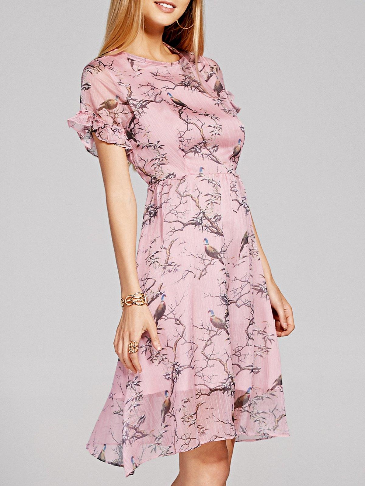 Stylish Pull Ruffle Sleeve Bird Print Skater Dress For Women