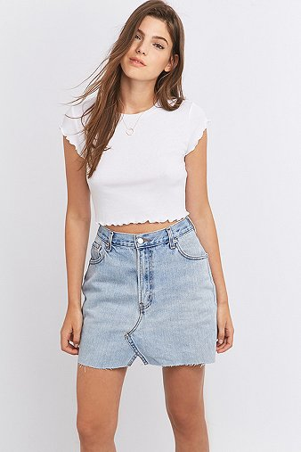 Urban Renewal Vintage Re-Made Levis Notched Light Blue Denim Mini Skirt - Urban Outfitters