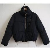 jacket,black,puffer jacket,padded jacket,cropped,zip,navy coat