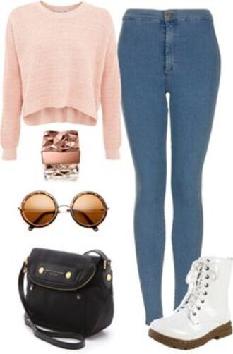 jeans blouse bag sunglasses shirt glasses shoes high waisted jeans light blue white boots black bag cropped sweater light pink crop tops round sunglasses