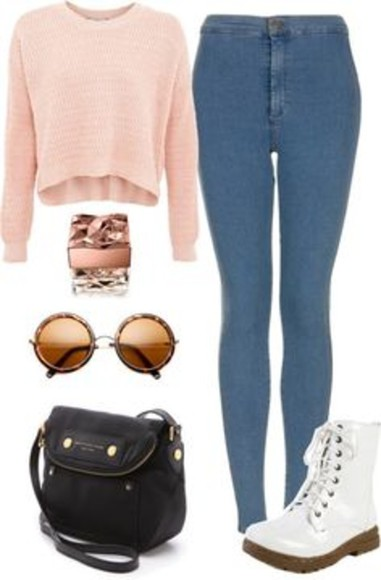 jeans bag sunglasses white round sunglasses high waisted jeans light blue boots black bag cropped sweater baby pink crop tops blouse shirt glasses shoes