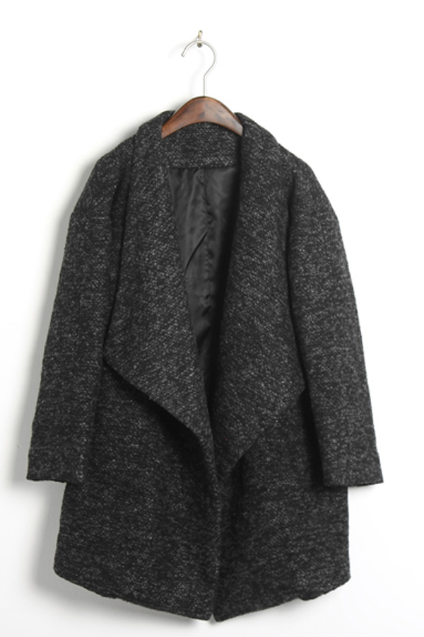 Oversized Lapels Tweed Coat - OASAP.com