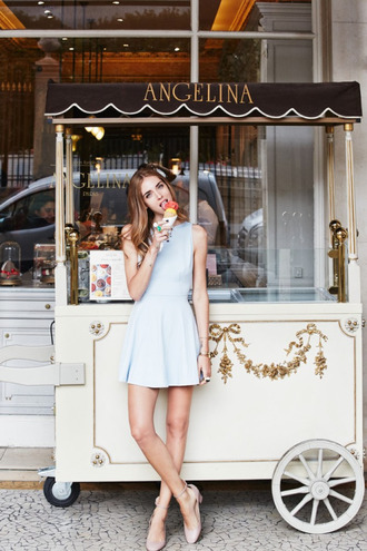dress tumblr blue dress mini dress baby blue pumps mid heel pumps nude pumps nude shoes ice cream chiara ferragni the blonde salad top blogger lifestyle