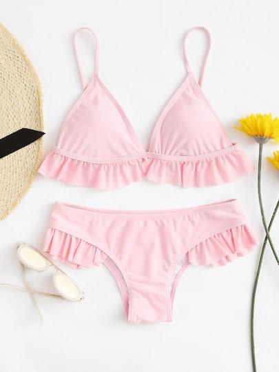 Ruffle Hem Thin Strap Top With Seam Bikini Set
