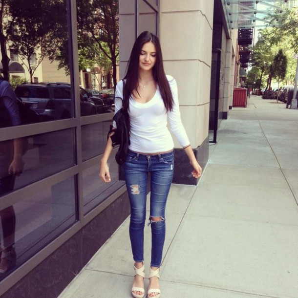 jeans summer outfit pretty skinny ripped jeans white
