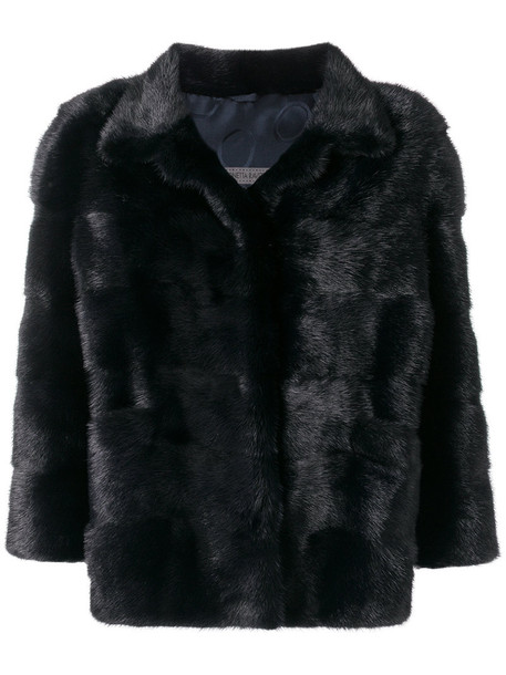 jacket fur women blue silk