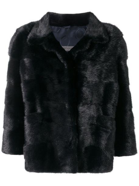 SIMONETTA RAVIZZA jacket fur women blue silk