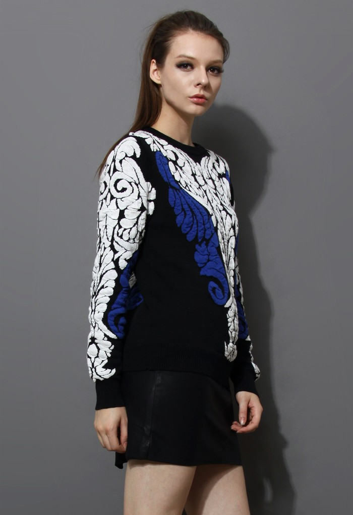 Black Long Sleeve Baroque Embossed Knit Sweater - Sheinside.com