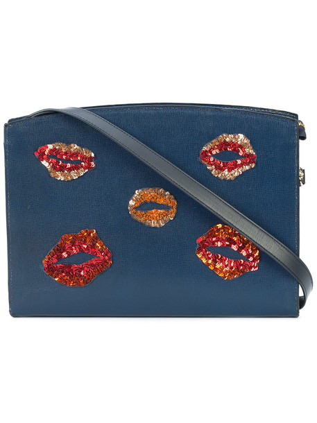 LIZZIE FORTUNATO JEWELS women lips bag shoulder bag leather blue