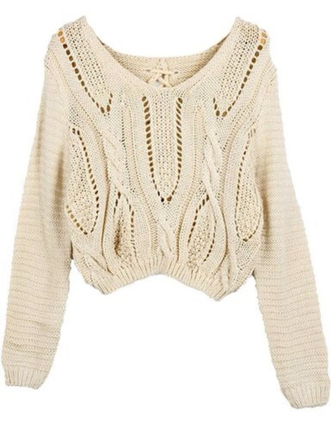 sweater cropped sweater eyelet beige