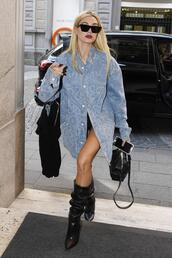 shoes,boots,jacket,streetstyle,milan fashion week 2017,hailey baldwin,denim jacket,denim shirt,denim,sunglasses